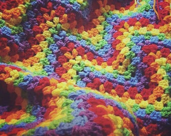 Classic Granny Chevron Rainbow Crochet Baby Blanket