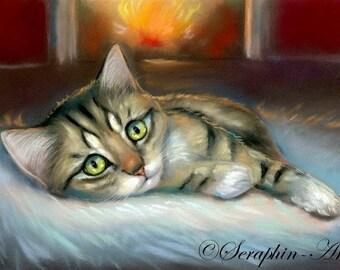 Cute Tabby Kitten Cosy Home Original Pastel Painting