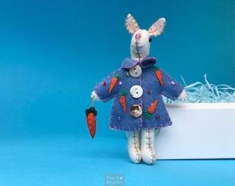 "5"" hand stitched ester bunny in coat hanging / felted rabbit bunny felt decoration / felt hanging ornament chic felt / easter primitive"