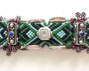 Vintage Navajo Sterling Silver Woven Natural Gemstone Bracelet