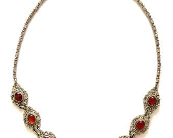 Vintage Etruscan Style Sterling Silver Carnelian Stone Link Necklace