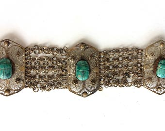 Antique Art Deco Egyptian Revival Scarab Beetle Brass Filigree Panel Bracelet