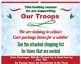 Troops Holiday Care Package Drive