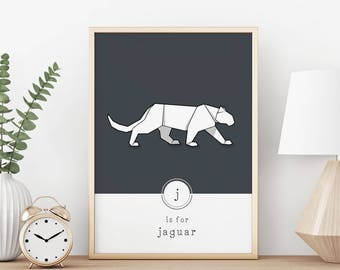 Jaguar Print, Jaguar Illustration, Origami, Nursery Art, Contemporary Animal, Minimal Print, Geometric, Origami Wall Art, Monochrome, Pastel
