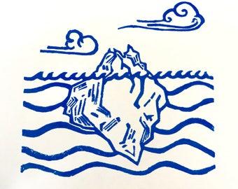 Iceberg Handmade Linocut Block Print
