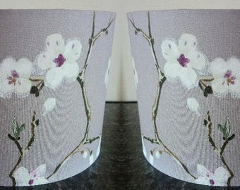 Pair of Lampshades / Lampshades /Cherry Blossom/ Handmade Light Shade / Purple /For Floor Lamp/ For Ceiling Lamp / Pendant / Drum