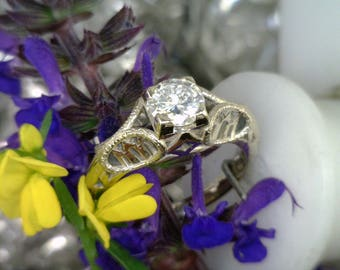 Custom 1/2 Karat Diamond Engagement Ring with Engraved Temple in Band All Custom Ring Prices Vary