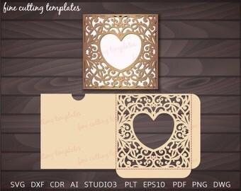 Wedding or Valentine Invitation Pocket Envelope template for cutting. Digital Instant Download, Cricut Cameo (svg, dxf, eps10, studio3)