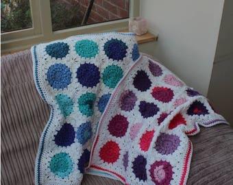Handmade Sunburst Crochet Baby Blanket - Blue or Pink