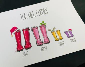 Welly Wellington Boot Personalised Print Gift Xmas Christmas Santa Elf Reindeer Holly Family Friend