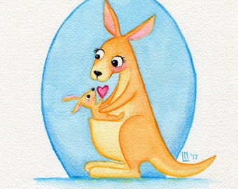 Kangaroo Mother and JoeY 7.5x11 Watercolor Painting