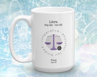 Libra Mug ~ Personalized Libra Mug ~ Personalized Mug ~ Zodiac Mug