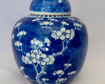 Chinese Blue and White Prunus Ginger Jar