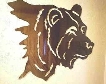 Steel bear head 24in by 22in