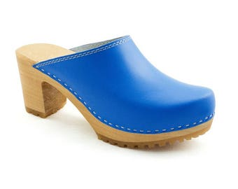 Leather clogs Blue sandals Wooden clogs swedish clogs Handmade clogs sandals Gift for women mules hight heel  wood clog new clogs 80's shoe