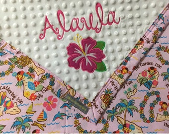 FREE SHIPPING Hula girl / Hawaiian theme monogrammed baby blanket / Personalized baby shower gift