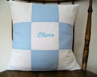 Personalised cushion cover . Name cushion . Baby cushion . Children's name cushion . Patchwork cushion . Handmade cushion cover .
