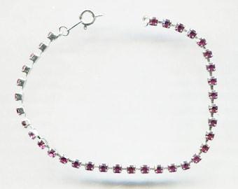 Thin Small Red Rhinestone Tennis Bracelet, 7 1/2 in. Long