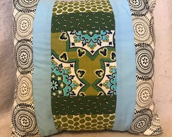 Quilted pillow in green blue and grey