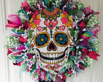 Halloween Sugar Skull Wreath