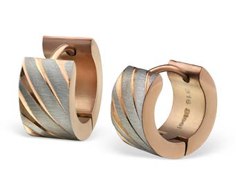 Modern Rose-gold And Silver Huggies