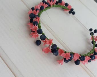 Hair Jewelery-porcelian cold-handmade-hair hoop-flower pink lilac with blueberry-Lilac