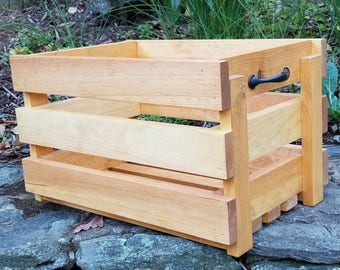 Wooden Crate with Handles/Toy Crate/Storage Crate/Pine Crate/Slatted Crate/Handmade Crate