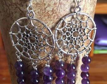 Amethyst Dream Catcher Earrings