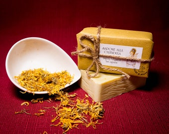 Calendula soap, natural, produced and hand-packaged.