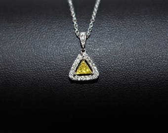 Yellow Diamond Triangle Pendant Necklace, White Gold Triangle Necklace, Diamond Triangle Necklace, Gold Triangle Pendant, Mothers Day Gift