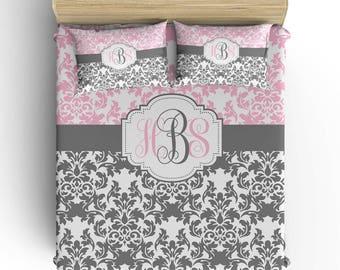 DAMASK BEDDING Comforter- Duvet Cover, Damask Pillowcase, Pink Gray Bedroom, Girl Toddler Twin Queen King, Damask Monogram Bedding Set
