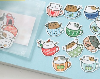 Cat in a teacup sticker pack 19 pcs