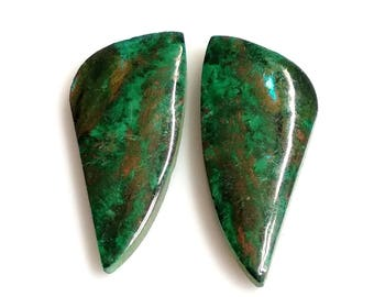 Chrysocolla Fancy Pair Cabochon,Size- 26x12 MM, Natural Chrysocolla, AAA,Quality  Loose Gemstone, Smooth Cabochons.