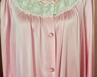 Vintage VANITY FAIR Robe Long Pink w/ Lace Details Peignoir SZ M