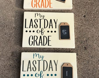 First Day/Last Day double sided photo prop with chalk board.