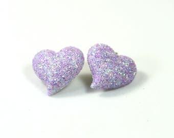 Purple heart earrings, Sparkly heart earrings, Fun earrings, Sparkly studs, Purple heart studs