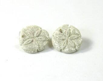 Sand dollar earrings, Sand dollar studs, Shell earrings, Sparkly earrings