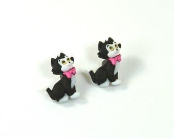 Cat earrings, Cat studs, cat jewelry, Cute cat studs, Black and white cat earrings