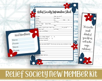 Relief Society Information Sheet / New Member / Move in Form / Application Digital Printable LDS