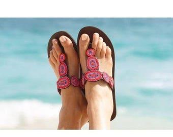 ON SALE MASAI Sandals, Bohemian Sandals, Leather Sandals, Colorful Sandals, Tribal Sandals, Summer Sandals, Beaded Sandals, Masai Sandals, S