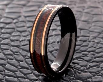Tungsten Wedding Ring Tungsten Ring Red Wood Inlay 6MM Wedding Band Men's Tungsten Ring Women's Tungsten Ring Custom Laser Free Engraving
