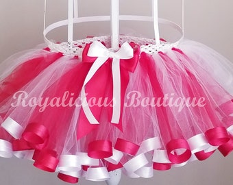Red and White Ribbon Trimmed Tutu - Candy Cane Tutu - Christmas Tutu - Christmas Skirt - Red and White Skirt - Holiday Tutu - Holiday Skirt