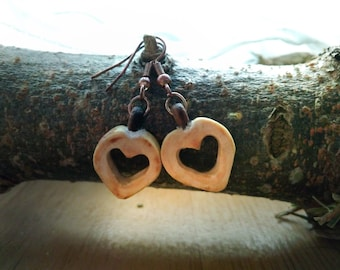 Valentine's day earrings ** Fir wood ** Wooden earrings