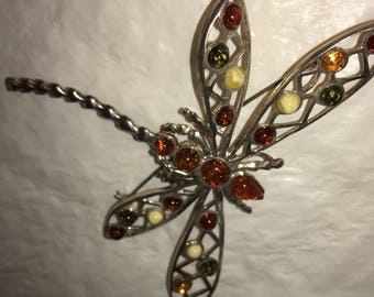 Beautiful Honey Amber and 925 Silver Dragon Fly Brooch / Pendant