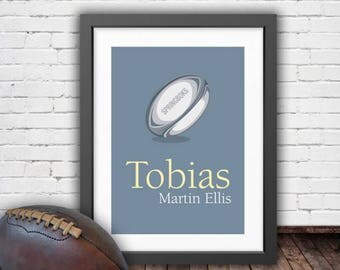 Personalised Rugby Art (FRAMED), Rugby Wall Art Print, Gift for Boys, Gift for Girls, Gift for Dad, Gift for Brother, Mancave, Rugby Ball
