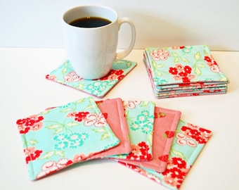 Quilted Coasters/ Cup coaster/ Mug rugs/ quilted mug rugs/ coaster/ floral Coasters/Coaster set/ Gift Ideas/ wedding gift/Cotton anniversary