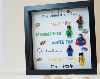 Lego, Iron Man, Superman, Spider-man, Hulk, valentine, gifts for him, fathers day, birthday, anniversary for daddy, husband inspired by LEGO