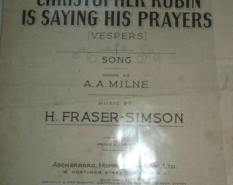 Vintage Christopher Robin saying his prayers  song Sheet
