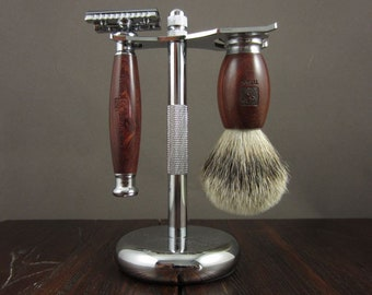 Safety Razor, Japanese Hand Made Shaving Set, Shaving Kit, Grooming Kit Case, Leather Mens Shaving Kit