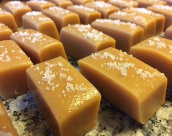 Homemade caramels hand cut and hand wrapped